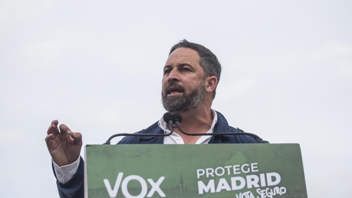 El presidente de Vox, Santiago Abascal, en un mitin en Navalcarnero (Madrid)